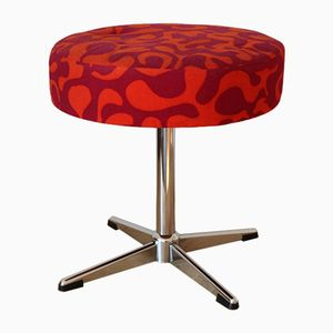 Mid-Century Stool with Psychedelic Pattern