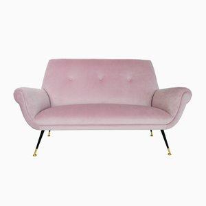 Italienisches Mid-Century Samt Sofa von Gigi Radice für Minotti, 1950er
