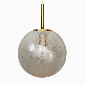 Spherical Lamp from Doria with Ice Glass Diffuser and Brass Details, 1960s