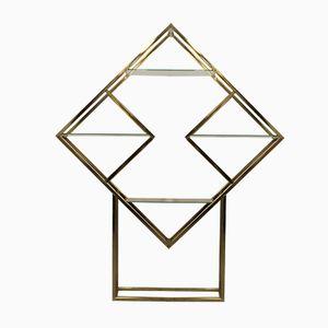 Libreria vintage geometrica in ottone