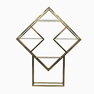 Vintage Geometric Shaped Brass Etagere