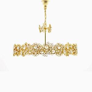 Lampadario in ottone dorato e cristallo di Ernst Palme per Palwa, anni '60