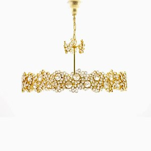 Large Gilded Brass and Crystal Glass Chandelier by Ernst Palme for Palwa, 1960s