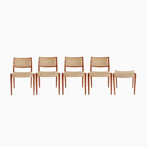 Chaises de Salon #80 Vintage en Teck par Niels Otto Møller pour J.L. Møllers, Danemark, Set de 5