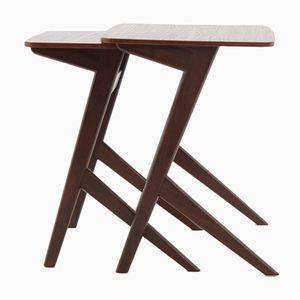 Danish Modern Sculptural Teak Nesting Tables, 1960s