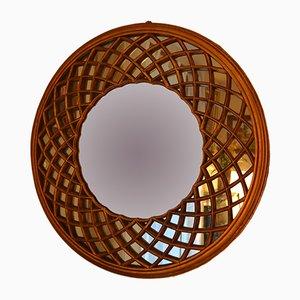 Specchio vintage in legno dorato, anni '70