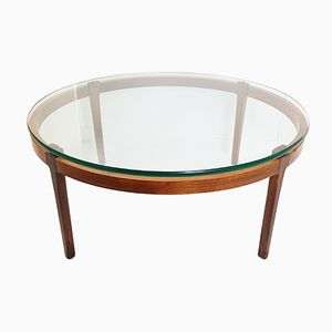 Mid-Century Scandinavian Teak & Rosewood Round Coffee Table, 1960s