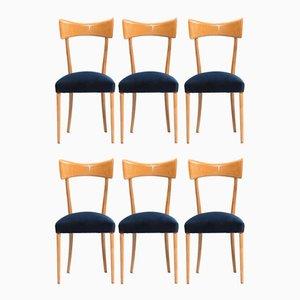 Chaises de Salon Vintage en Hêtre, Italie, Set de 6