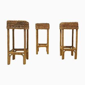 French Braided Stool Set, 1950s