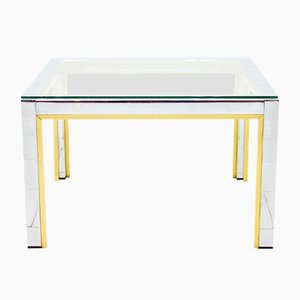 Chrome, Brass, & Glass Side Table by Renato Zevi for Romeo Rega, 1970s