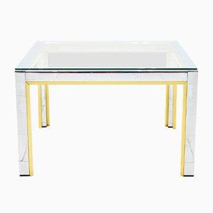 Chrome, Brass, & Glass Side Table by Renato Zevi for Romeo Rega, 1970s