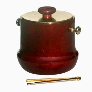Goatskin & Brass Ice Bucket from Aldo Tura, 1950s