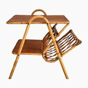 Vintage French Rattan Table with Magazine Rack, 1960s