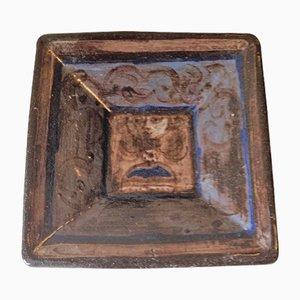 Viereckige Keramik Schale von Rolf Hansen, 1950er