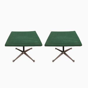 Mid-Century Green Poufs from Herman Miller, 1960s, Set of 2