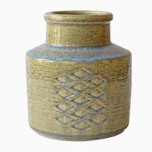 Grand Vase Scandinave en Vert Pâle & Bleu par Per Linnemann-Schmidt pour Palshus, 1960s