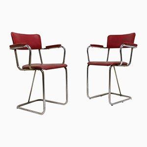 Vintage Stahlrohr Armlehnstühle mit Kunstleder Stühlen, 1930er, 2er Set