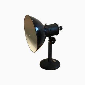 Industrial Czechoslovakian Black Metal Table Lamp, 1950s