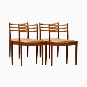 Chaises de Salon Vintage en Vinyle & Teck de G-Plan, Set de 4