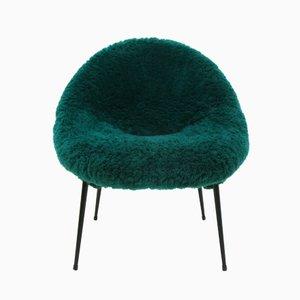 Vintage Green Fuzzy Armchair, 1960s