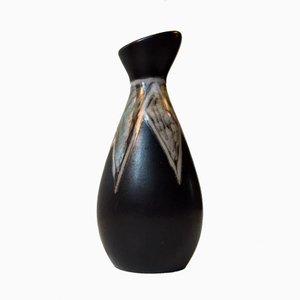 Vaso Burgundia modernista in ceramica di Svend Aage Holm-Sorensen per Soholm, Danimarca, anni '50