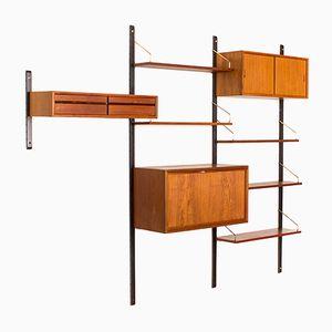 Modulares Vintage Wandregalsystem aus Teakholz und Messing von Poul Cadovius, 1960er