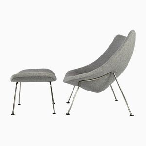 F157 Oyster Chair and Ottoman by Pierre Paulin for Artifort, 1950s