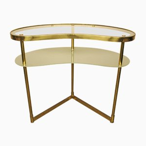 Mid-Century Italian Vanity/Dressing Table in Brass & Glass