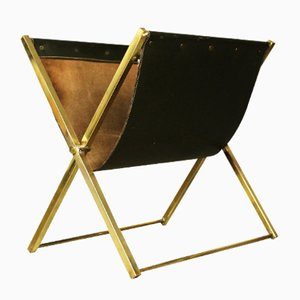 Mid-Century French Magazine Rack in Brass & Leather