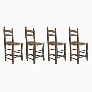 Antique Ladder Back Chairs, 1850s, Set of 4