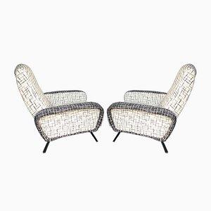 Mid-Century Italian Reclining Lounge Chairs, Set of 2