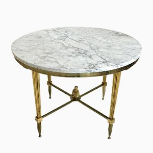 French White Marble Coffee Table, 1970s