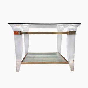 Couchtisch aus Plexiglas, Brass und Glas, 1980er