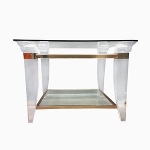 Lucite, Brass, and Glass Coffee Table, 1980s