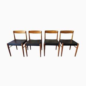 Chaises de Salon en Teck et Cuir par Henry W. Klein pour Bramin, 1960s, Set de 4