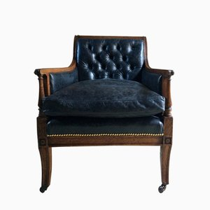 Antique Victorian Leather & Oak Library Chair, 1840s