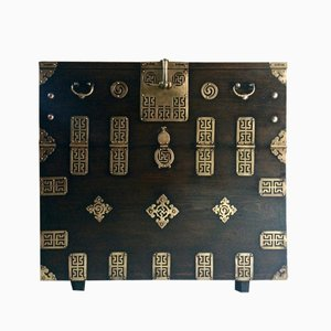 Antique Korean Blanket Elm & Brass Chest
