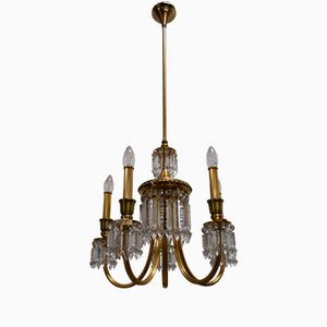 Gold Plated Brass & Crystals Chandelier from Lumi Milano, 1950s