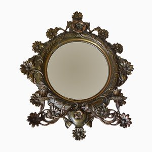 Antique Large Mirror with Candlestick Holders