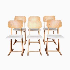 Vintage Stühle aus weißem & hellem Holz von Casala, 6er Set