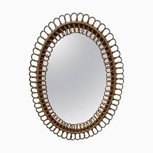 Specchio Mid-Century in vimini