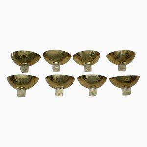 Vintage Wandlampen aus Messing und Plexiglas, 8er Set