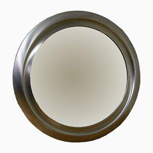 Specchio rotondo in metallo spazzolato, anni '70