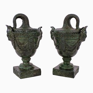 Antike Tazzas aus Bronze, 2er Set