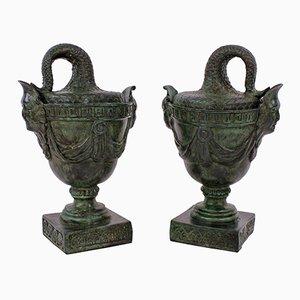 Recipienti antichi in bronzo, set di 2
