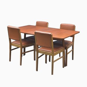 Mid-Century Teak Drop Leaf Table & 4 Chairs by Gordon Russell for Austinsuite, 1960s