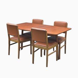 Tavolo pieghevole e 4 sedie Mid-Century in teak di Gordon Russell per Austinsuite, anni '60