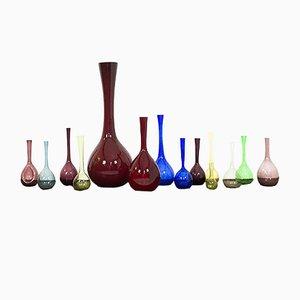 Colorful Glass Vases by Arthur Percy & Eneryda Glasbruk for Gullskruf, 1950s, Set of 14