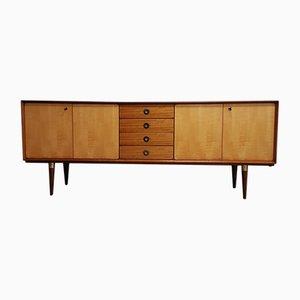 Credenza in teak, legno di betulla e ottone con cassetti, anni '50