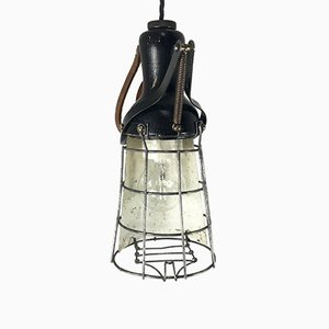Vintage Industrial Cage Light with Wooden Handle